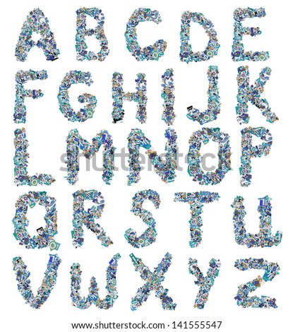 ABC, Collage made of newspaper clipping, letters - stock photo