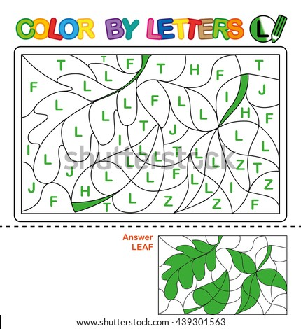 ABC Coloring Book for kids. Color by letter. Learn to write capital letters of the English alphabet. Puzzle for children. Leaves. L - stock photo