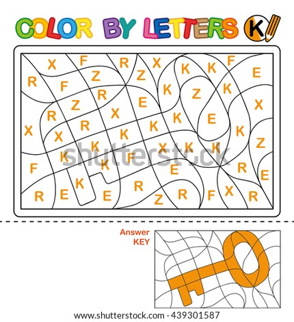 ABC Coloring Book for kids. Color by letter. Learn to write capital letters of the English alphabet. Puzzle for children. Key. K - stock photo
