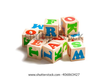 abc cubes on isolated background - stock photo