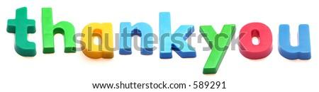 ABC fridge magnet letters spell thankyou - stock photo