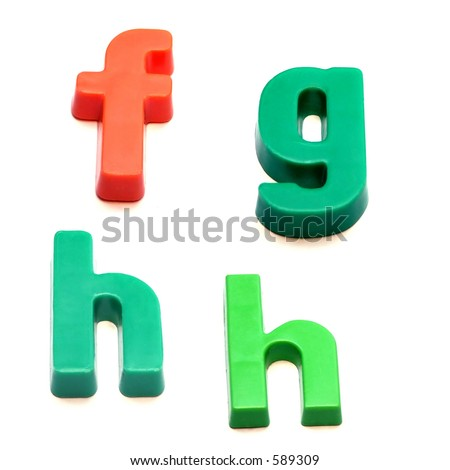 ABC fridge magnets - letters f, g and h Mix and Match to make your own words - stock photo