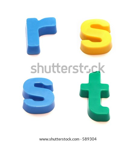 ABC fridge magnets - letters r, s and t Mix and Match to make your own words - stock photo