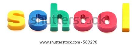 ABC fridge magnets spell 'school' - stock photo