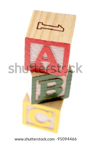 ABC learning blocks on white - stock photo
