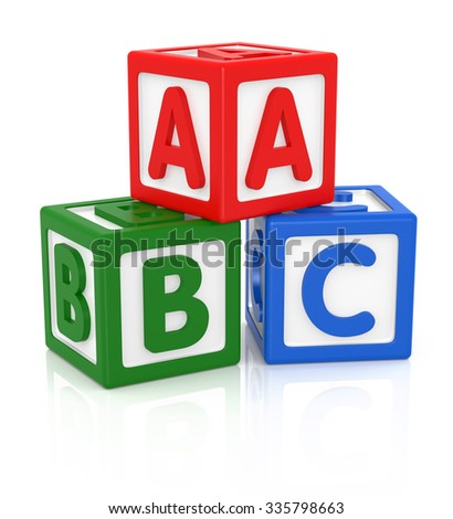 ABC letters made from baby toys, Color blocks with alphabet letters.  - stock photo