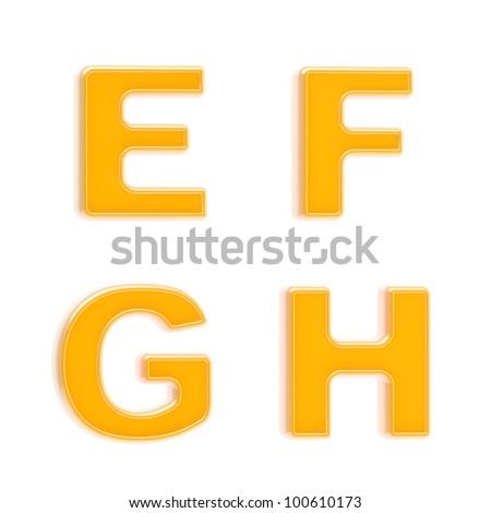 Abc set of four glossy orange plastic letters isolated on white - stock photo
