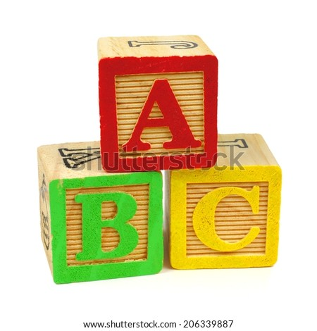 ABC toy wooden blocks isolated on a white background - stock photo