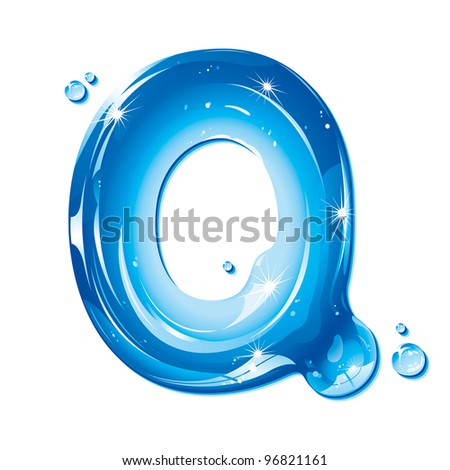 ABC Water Letter - Capital Q Liquid Alphabet Gel Series  on white background - raster version - stock photo
