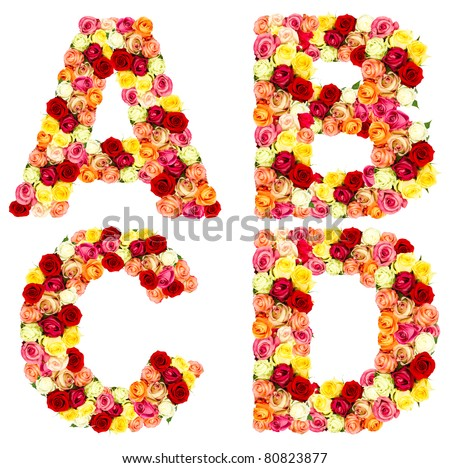 s alphabet in rose  ABCD, roses flower alphabet isolated