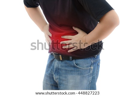 Abdominal Pain. Man suffering from stomach ache. He holds his stomach and has hurt. on white background with clipping path - stock photo