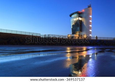 ABERDEEN, SCOTLAND - JANUARY 2016: The Marine Operations Centre at Pocra Quay, North Pier. Opened in 2006 it controls shipping in and out of the port, one of the UK's busiest ports. - stock photo