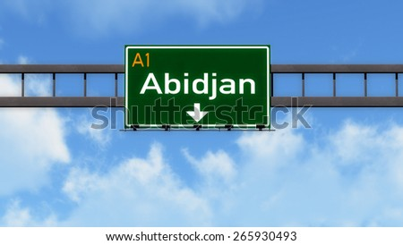 Abidjan Ivory Coast Africa Highway Road Sign - stock photo