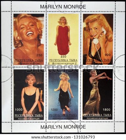 ABKHAZIA - CIRCA 2000: stamps printed in Abkhazia (Georgia) shows Marilyn Monroe, circa 2000 - stock photo