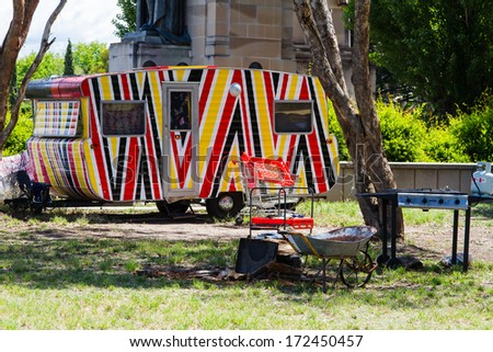 Aboriginal Embassy, Canberra, Australia - stock photo