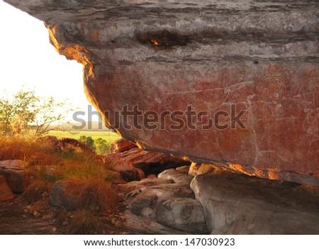 Aboriginal Rock Art, Kakadu National Park, Australia - stock photo