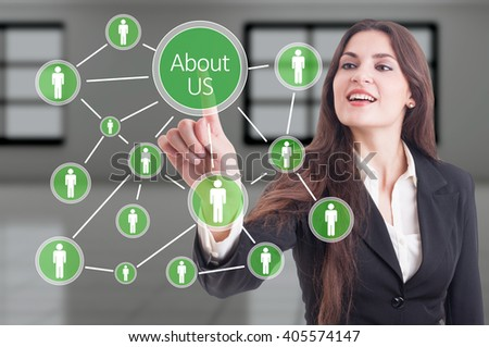 About us concept with company people connections diagram on futuristic transparent touch screen - stock photo