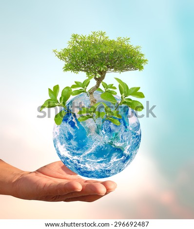 Above human hand giving global Earth NASA image to below hand a Think Earth Concept - stock photo
