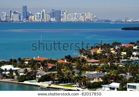 Above Key Biscayne - stock photo