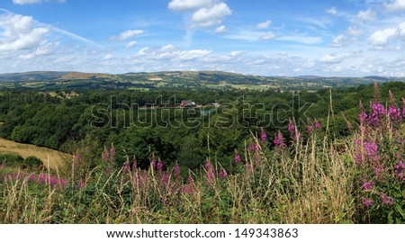 Above Llandrindod Wells lake panorama, Wales UK. - stock photo