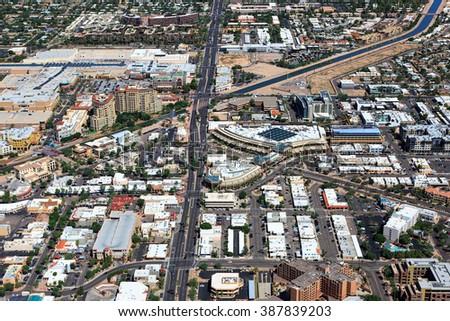 Above the heart of downtown Scottsdale, Arizona - stock photo