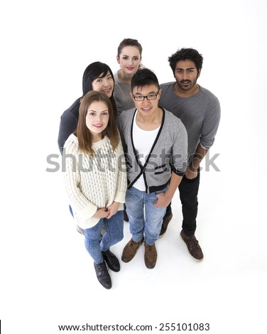 above view of a happy group of friends. Mixed race group. Isolated on a white background. - stock photo