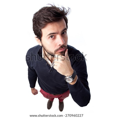 above view of a young man with think gesture. View from the top - stock photo
