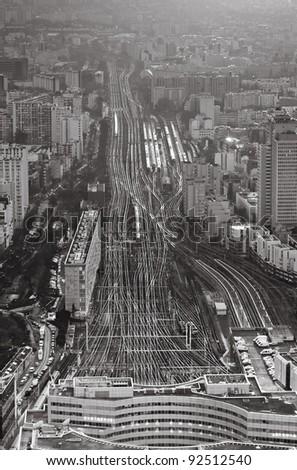 above view over urban  terminus railways - stock photo