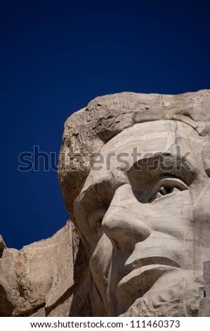 Abraham Lincoln at Mt. Rushmore National Memorial - stock photo