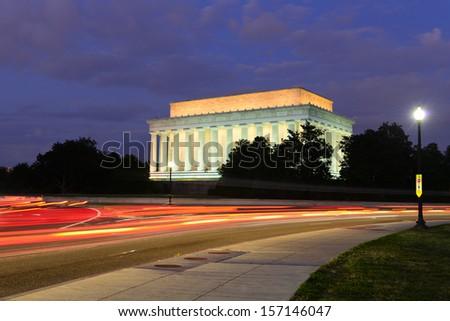 Abraham Lincoln Memorial at night - Washington DC, United States  - stock photo