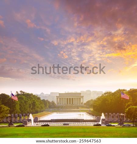 Abraham Lincoln Memorial building sunset Washington DC US USA - stock photo