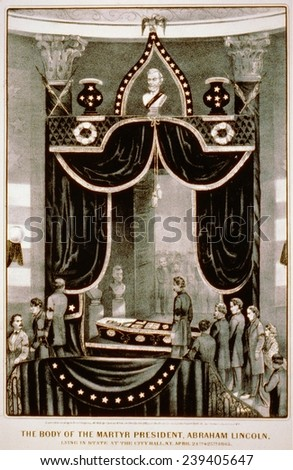 Abraham Lincoln's body lying in State at the city hall, N.Y. April 24-25, 1865. - stock photo