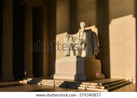 Abraham Lincoln Statue at Lincoln Memorial - Washington DC, United States  - stock photo