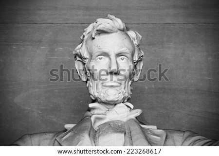 Abraham Lincoln Statue at Lincoln Memorial - Washington DC, United States. Black and white above shoulders photo. - stock photo