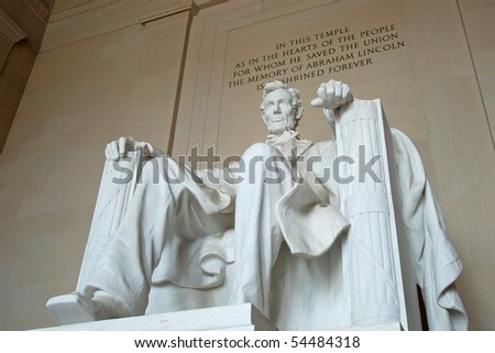 Abraham Lincoln statue in the Lincoln Memorial, Washington DC - stock photo