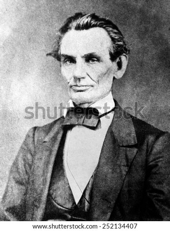 Abraham Lincoln (1809-1865), U.S. President (1861-1865), daguerreotype made in Decatur as a publicity stunt after photographer was told to photograph the tallest man at the 1860 Republican Convention. - stock photo