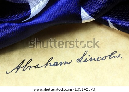 Abraham Lincoln - United States of America Constitution and USA Flag - stock photo