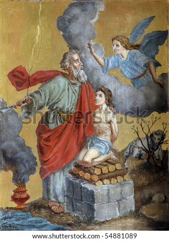 Abraham Sacrificing Isaac - stock photo