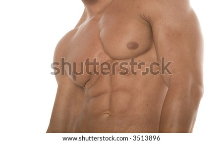 Abs of a muscular man - stock photo