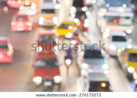 abstact blur bokeh of Evening traffic jam on road in Bangkok city - stock photo