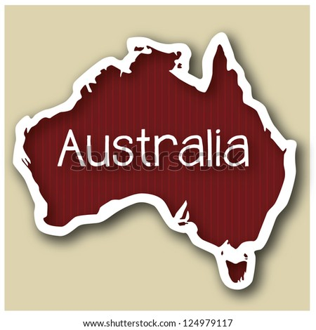 abstact map of Australia in form of a sticker - stock photo