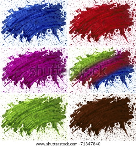abstaract hand drawn watercolor blot - stock photo