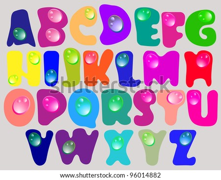 Abstract ABC,color alphabet with color drops, beautiful illustration - stock photo