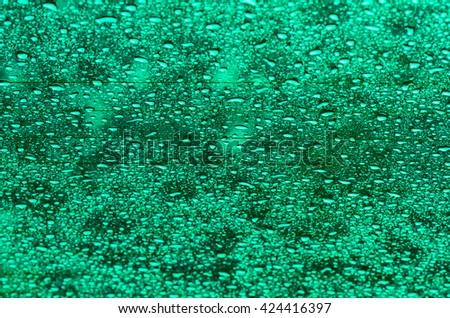 Abstract abd background blur water droplets on glass green. - stock photo