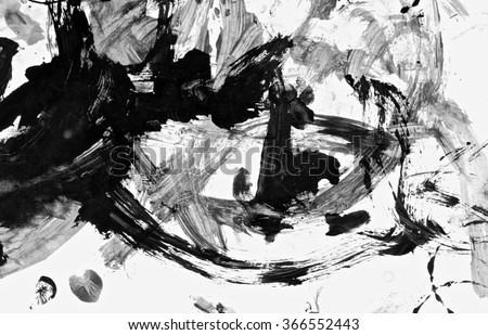 Abstract acrylic hand painted background. Fashion and beauty. Isolated on white background. Black and white colors. Close up. - stock photo
