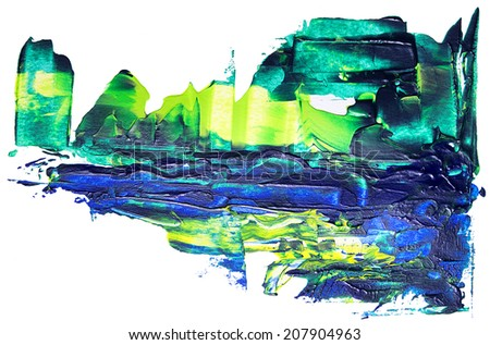Abstract acrylic paint on white paper - stock photo