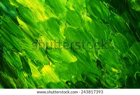 Abstract acrylic painted background. Hand drawn green strokes. Ecology backdrop.  - stock photo