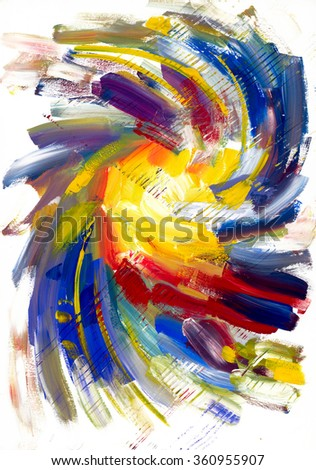 Abstract acrylic texture. Oil, acrylic paints, gouache. Modern painting. Colorful rainbow palette. Avant-garde art. Reminiscent of graffiti. Contemporary art. Stains, spray paint. Colorful streaks - stock photo