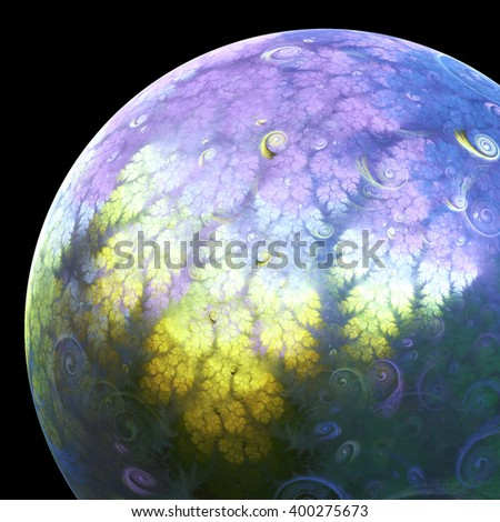 Abstract alien fractal planet, digital artwork for creative graphic design - stock photo