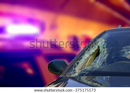 Abstract ambulance in an accident at nighttime - stock photo